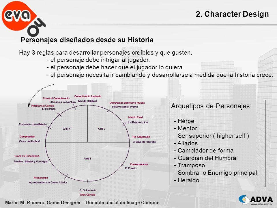 Martín M. Romero, Game Designer – Docente oficial de Image Campus 2. Character Design Personajes diseñados desde su Historia Hay 3 reglas para desarro