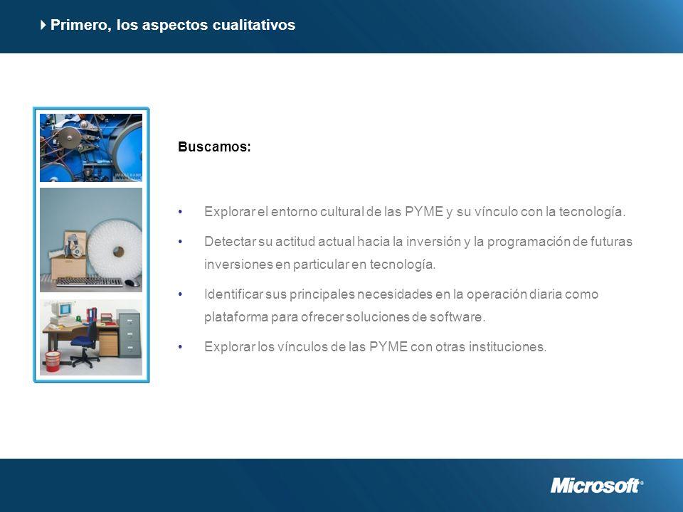 Primero, los aspectos cualitativos Buscamos: Explorar el entorno cultural de las PYME y su vínculo con la tecnología.