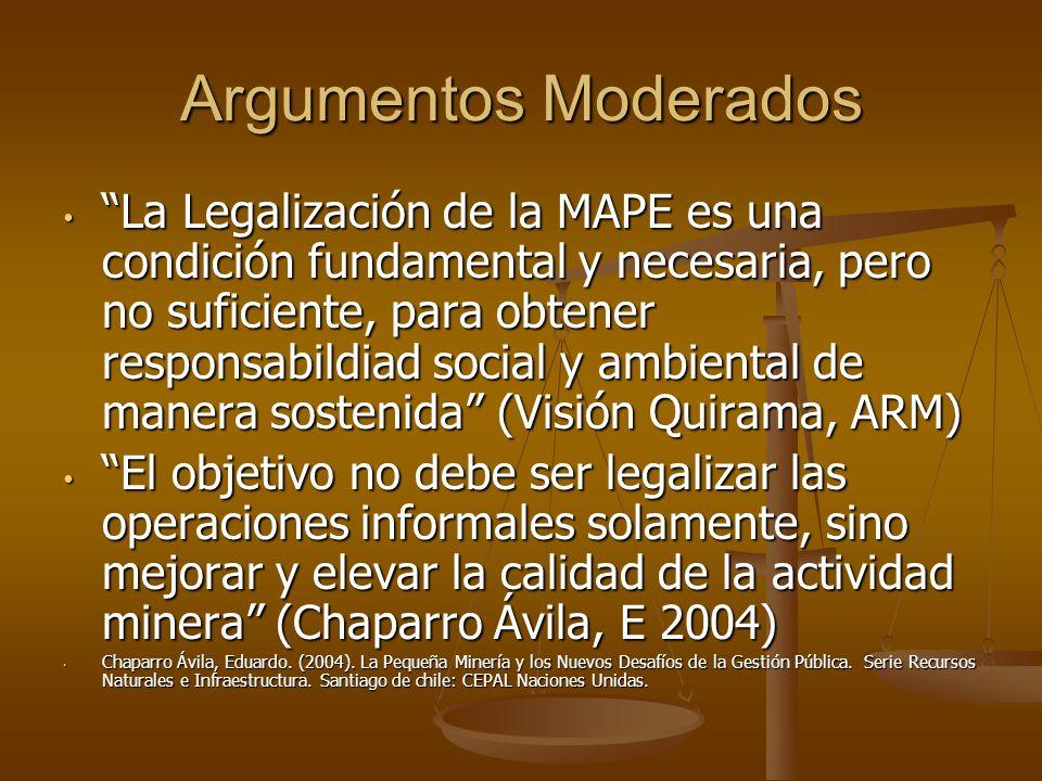 Argumentos Moderados La Legalización de la MAPE es una condición fundamental y necesaria, pero no suficiente, para obtener responsabildiad social y am