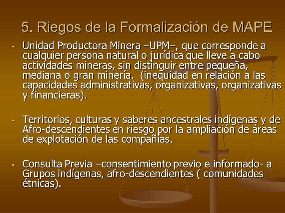 5. Riegos de la Formalización de MAPE Unidad Productora Minera –UPM–, que corresponde a cualquier persona natural o jurídica que lleve a cabo activida
