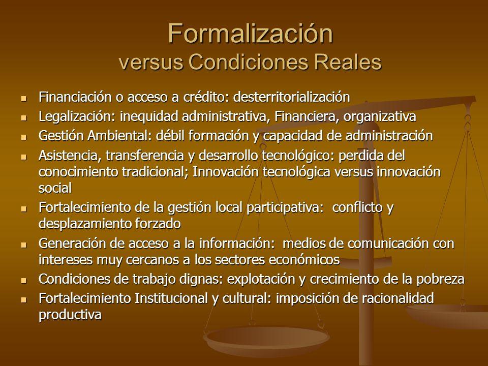 Formalización versus Condiciones Reales Financiación o acceso a crédito: desterritorialización Financiación o acceso a crédito: desterritorialización