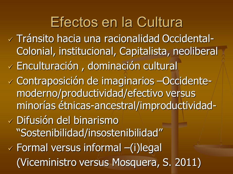 Efectos en la Cultura Tránsito hacia una racionalidad Occidental- Colonial, institucional, Capitalista, neoliberal Tránsito hacia una racionalidad Occ