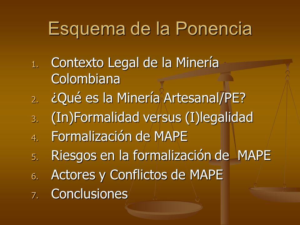 Esquema de la Ponencia 1. Contexto Legal de la Minería Colombiana 2. ¿Qué es la Minería Artesanal/PE? 3. (In)Formalidad versus (I)legalidad 4. Formali