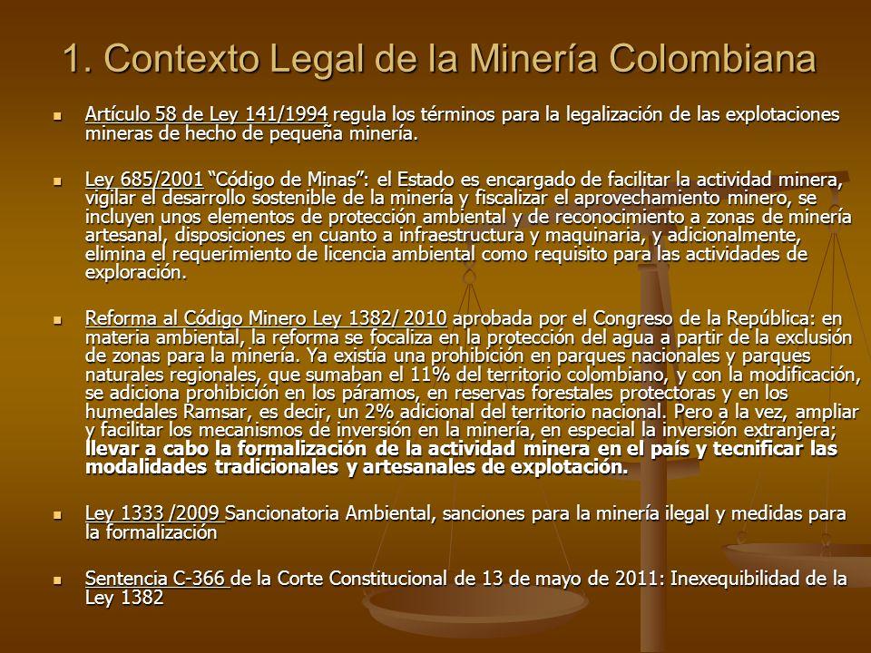 1. Contexto Legal de la Minería Colombiana Artículo 58 de Ley 141/1994 regula los términos para la legalización de las explotaciones mineras de hecho
