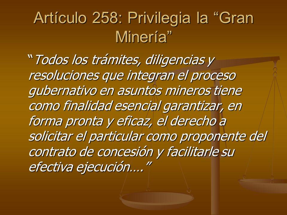 Artículo 258: Privilegia la Gran Minería Todos los trámites, diligencias y resoluciones que integran el proceso gubernativo en asuntos mineros tiene c