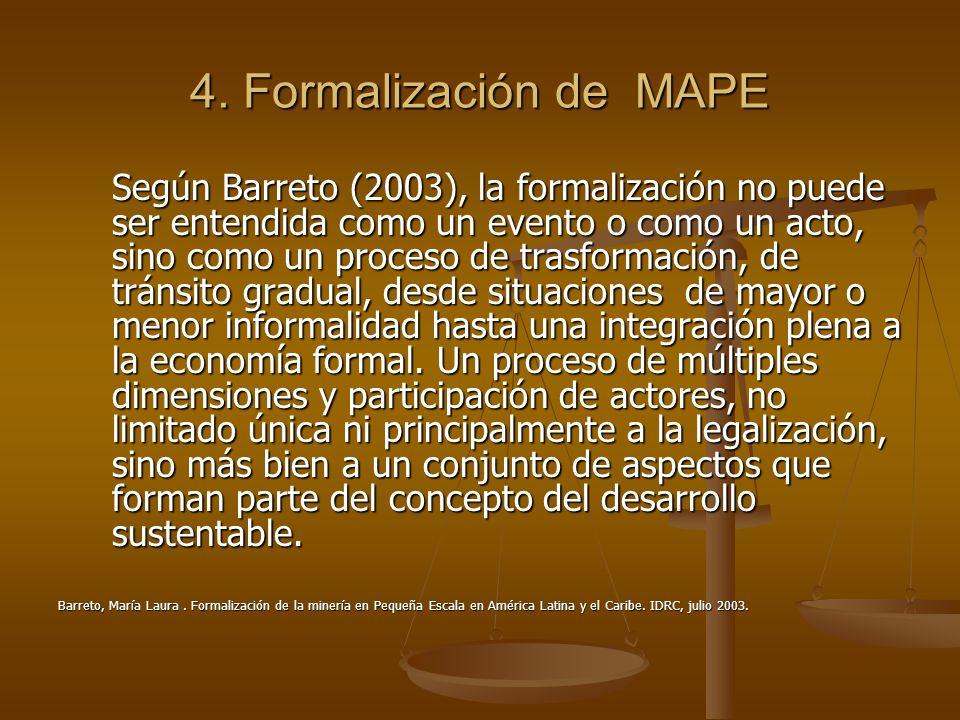 4. Formalización de MAPE Según Barreto (2003), la formalización no puede ser entendida como un evento o como un acto, sino como un proceso de trasform