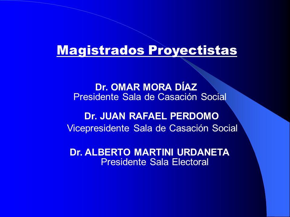 Dr.ALBERTO MARTINI URDANETA Dr. OMAR MORA DÍAZ Presidente Sala de Casación Social Dr.