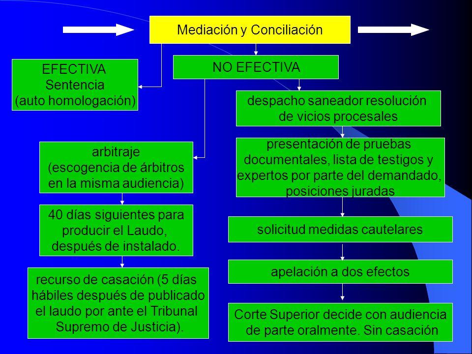 Mediación y Conciliación EFECTIVA Sentencia (auto homologación) arbitraje (escogencia de árbitros en la misma audiencia) 40 días siguientes para producir el Laudo, después de instalado.