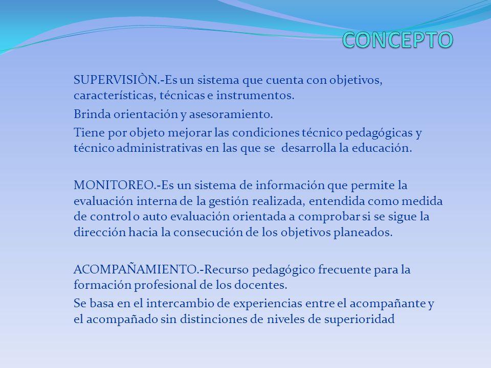 SUPERVISIÒN.-Es un sistema que cuenta con objetivos, características, técnicas e instrumentos. Brinda orientación y asesoramiento. Tiene por objeto me