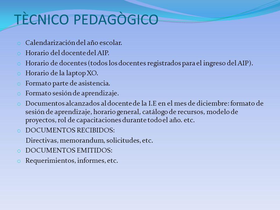 TÈCNICO PEDAGÒGICO o Calendarización del año escolar. o Horario del docente del AIP. o Horario de docentes (todos los docentes registrados para el ing