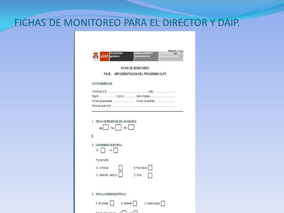 FICHAS DE MONITOREO PARA EL DIRECTOR Y DAIP.