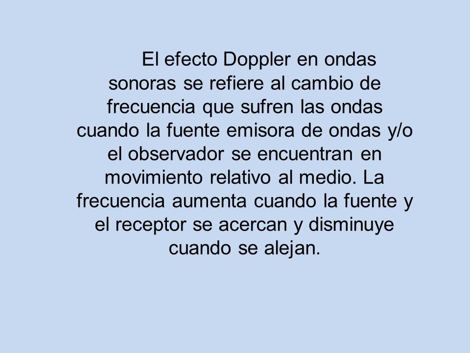 El efecto Doppler en ondas sonoras se refiere al cambio de frecuencia que sufren las ondas cuando la fuente emisora de ondas y/o el observador se encuentran en movimiento relativo al medio.