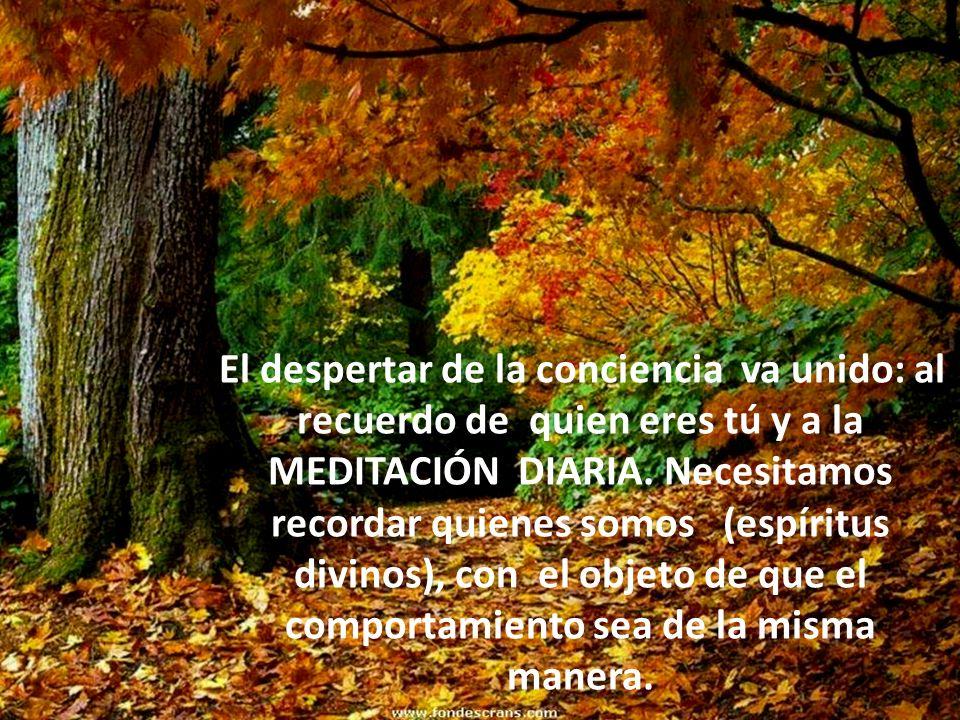 El despertar de la conciencia va unido: al recuerdo de quien eres tú y a la MEDITACIÓN DIARIA. Necesitamos recordar quienes somos (espíritus divinos),