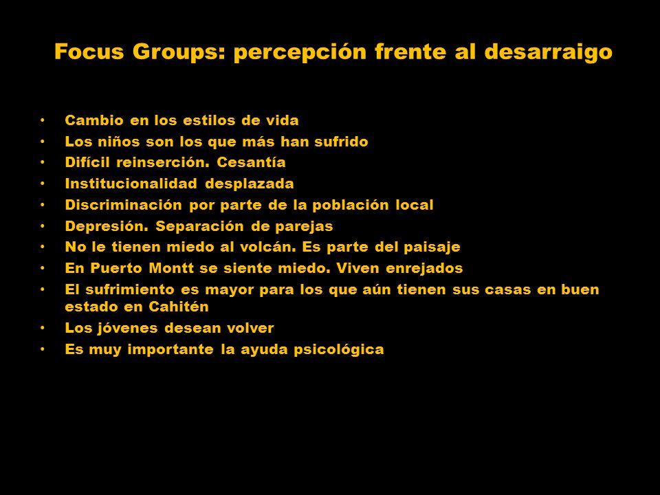 Focus Groups: percepción frente al desarraigo Cambio en los estilos de vida Los niños son los que más han sufrido Difícil reinserción. Cesantía Instit