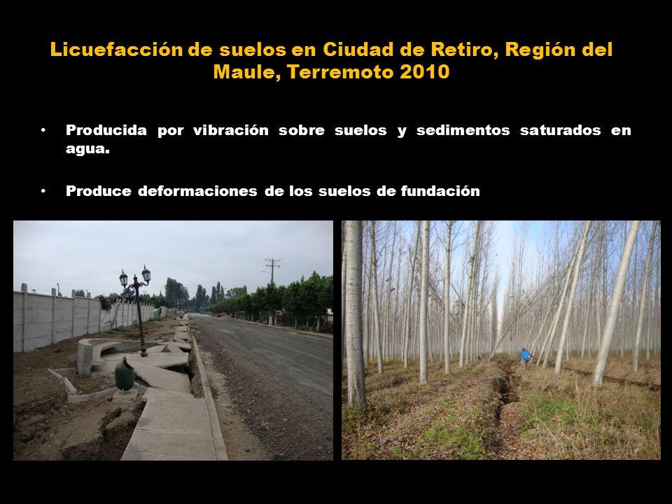 Licuefacción de suelos en Ciudad de Retiro, Región del Maule, Terremoto 2010 Producida por vibración sobre suelos y sedimentos saturados en agua. Prod