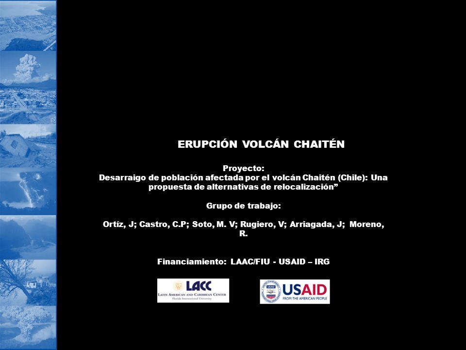 ERUPCIÓN VOLCÁN CHAITÉN Proyecto: Desarraigo de población afectada por el volcán Chaitén (Chile): Una propuesta de alternativas de relocalización Grup