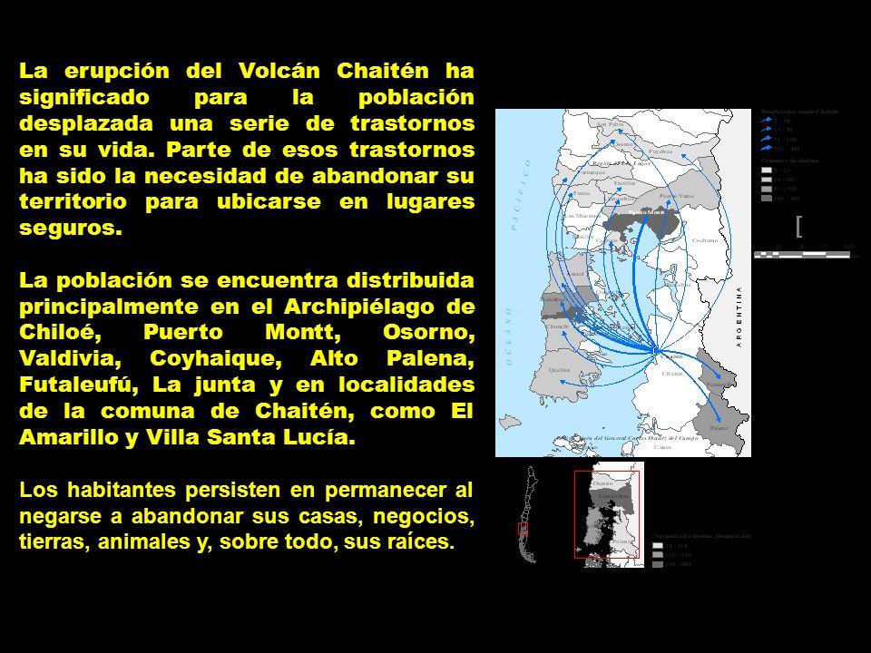 La erupción del Volcán Chaitén ha significado para la población desplazada una serie de trastornos en su vida. Parte de esos trastornos ha sido la nec