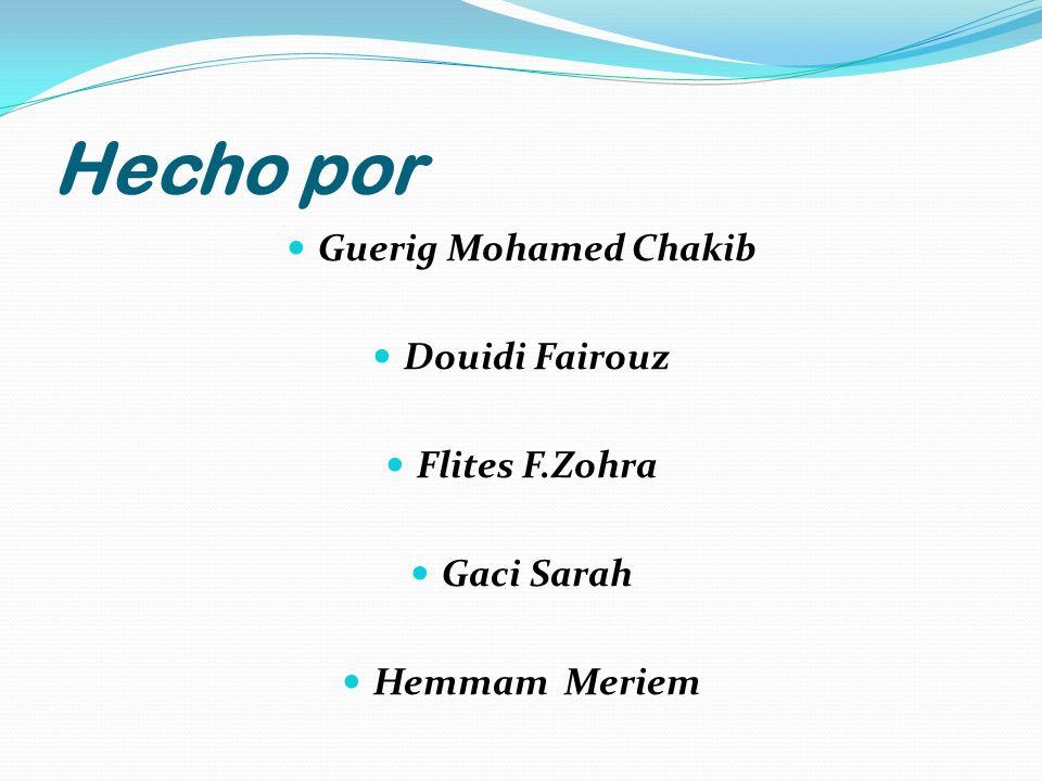 Hecho por Guerig Mohamed Chakib Douidi Fairouz Flites F.Zohra Gaci Sarah Hemmam Meriem