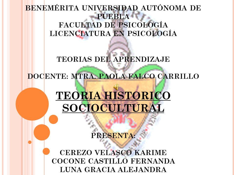 BENEMÉRITA UNIVERSIDAD AUTÓNOMA DE PUEBLA FACULTAD DE PSICOLOGÍA LICENCIATURA EN PSICOLOGÍA TEORIAS DEL APRENDIZAJE DOCENTE: MTRA. PAOLA FALCO CARRILL