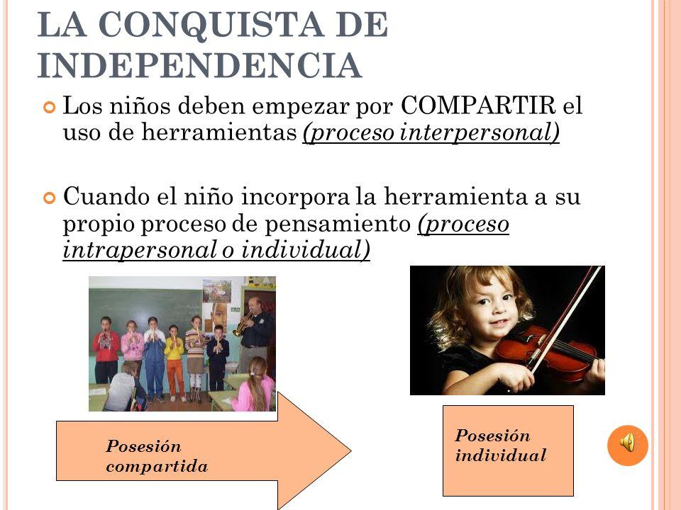 LA CONQUISTA DE INDEPENDENCIA Los niños deben empezar por COMPARTIR el uso de herramientas (proceso interpersonal) Cuando el niño incorpora la herrami