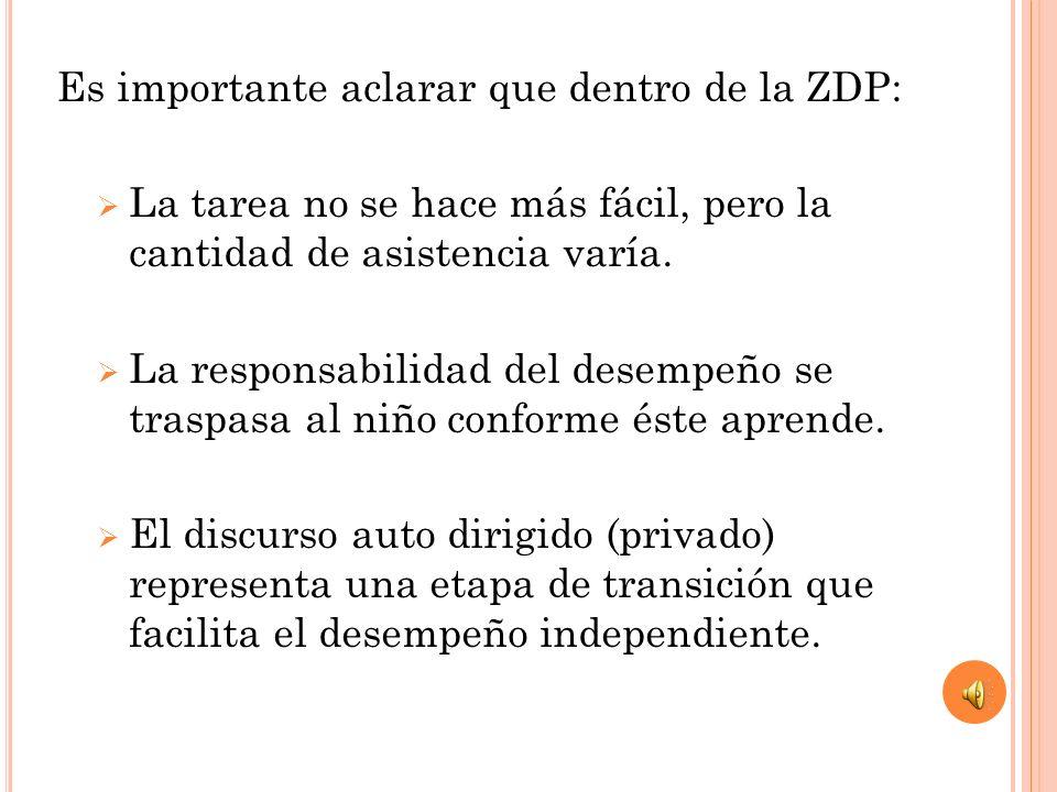 Es importante aclarar que dentro de la ZDP: La tarea no se hace más fácil, pero la cantidad de asistencia varía. La responsabilidad del desempeño se t