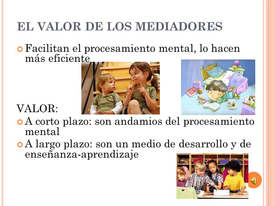 EL VALOR DE LOS MEDIADORES Facilitan el procesamiento mental, lo hacen más eficiente VALOR: A corto plazo: son andamios del procesamiento mental A lar