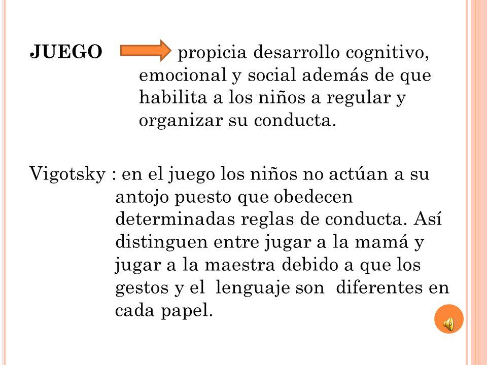 JUEGO propicia desarrollo cognitivo, emocional y social además de que habilita a los niños a regular y organizar su conducta. Vigotsky : en el juego l