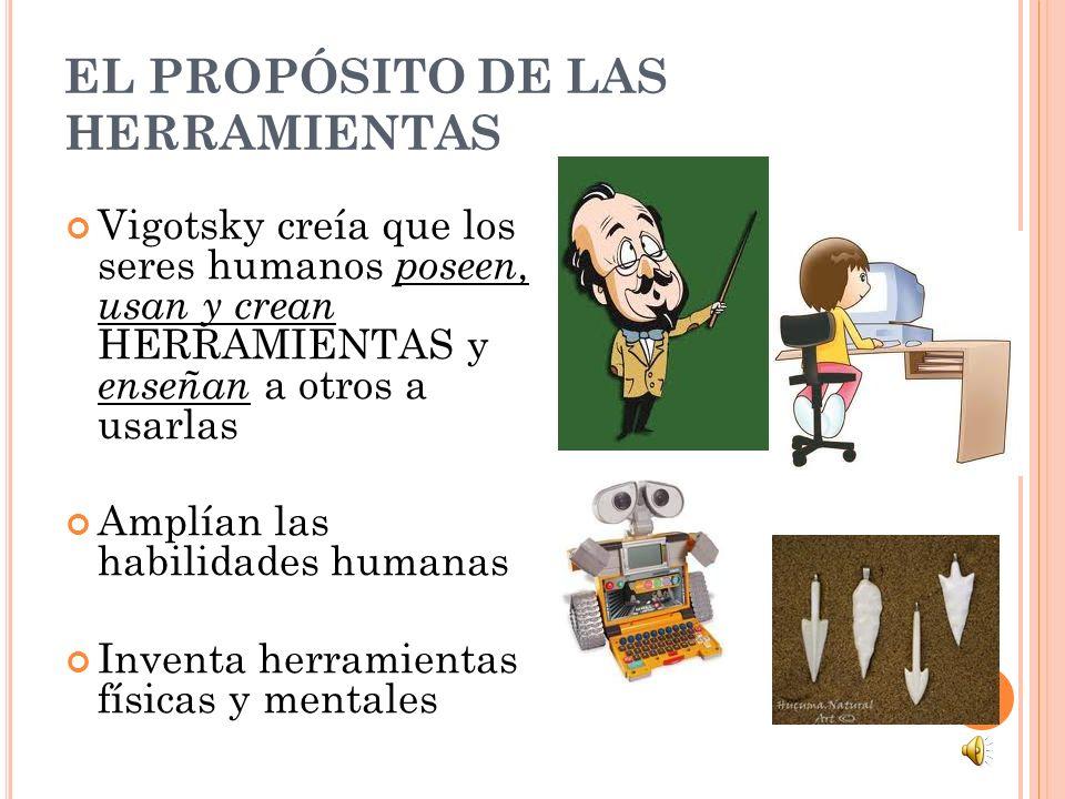 EL PROPÓSITO DE LAS HERRAMIENTAS Vigotsky creía que los seres humanos poseen, usan y crean HERRAMIENTAS y enseñan a otros a usarlas Amplían las habili