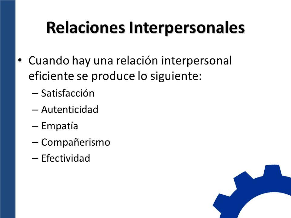 Relaciones Interpersonales Cuando hay una relación interpersonal eficiente se produce lo siguiente: – Satisfacción – Autenticidad – Empatía – Compañerismo – Efectividad