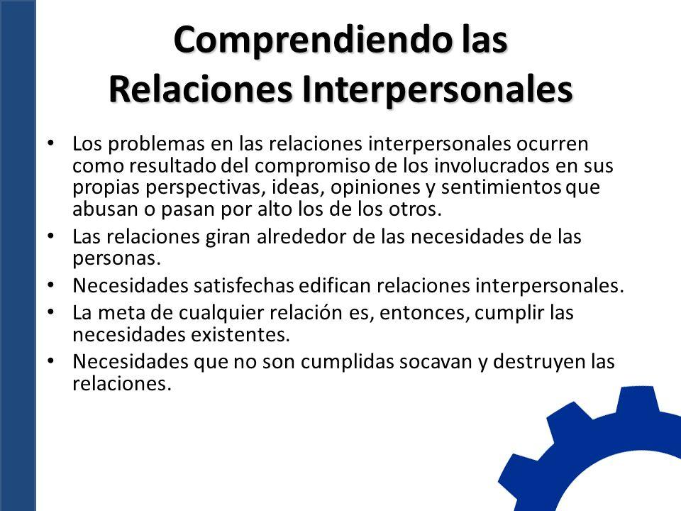 Comprendiendo las Relaciones Interpersonales Los problemas en las relaciones interpersonales ocurren como resultado del compromiso de los involucrados en sus propias perspectivas, ideas, opiniones y sentimientos que abusan o pasan por alto los de los otros.
