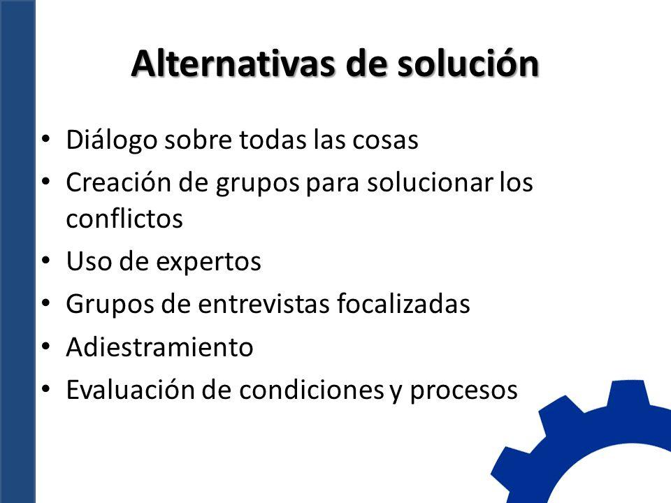 Alternativas de solución Diálogo sobre todas las cosas Creación de grupos para solucionar los conflictos Uso de expertos Grupos de entrevistas focalizadas Adiestramiento Evaluación de condiciones y procesos