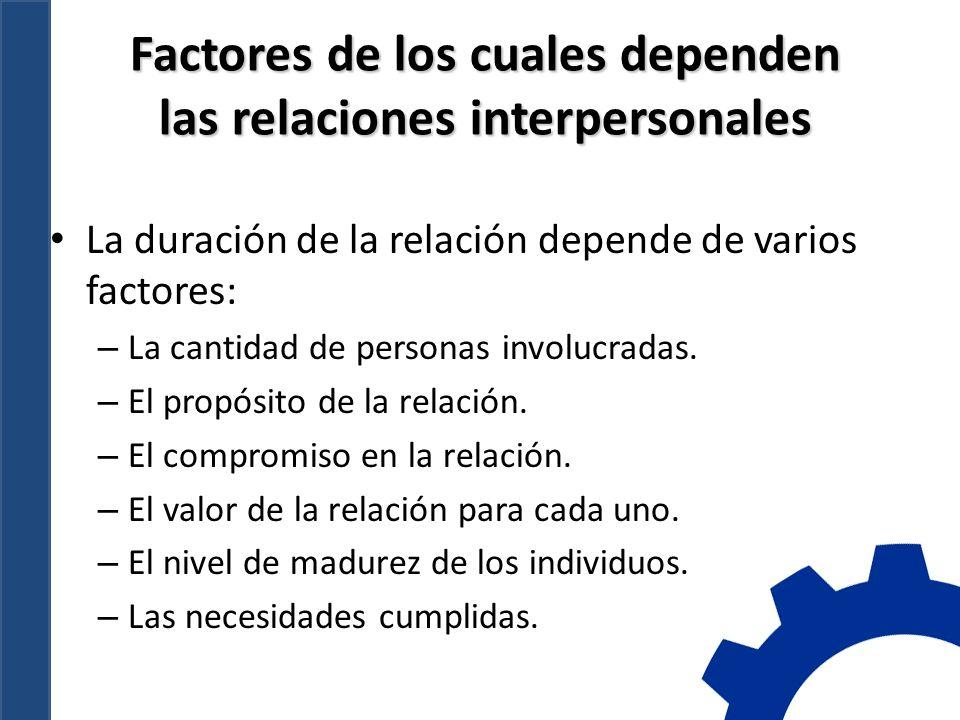 Factores de los cuales dependen las relaciones interpersonales La duración de la relación depende de varios factores: – La cantidad de personas involucradas.