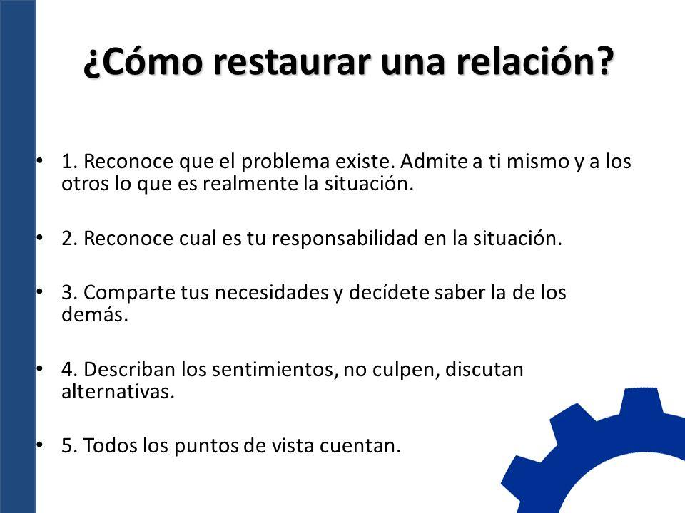 ¿Cómo restaurar una relación.1. Reconoce que el problema existe.