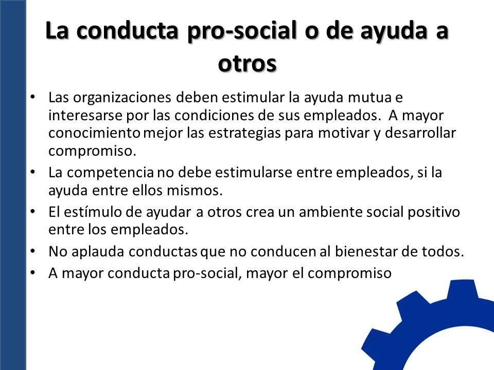 La conducta pro-social o de ayuda a otros Las organizaciones deben estimular la ayuda mutua e interesarse por las condiciones de sus empleados.