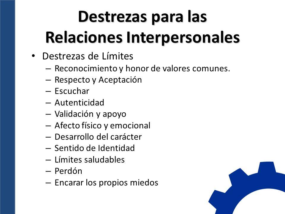 Destrezas para las Relaciones Interpersonales Destrezas de Límites – Reconocimiento y honor de valores comunes.