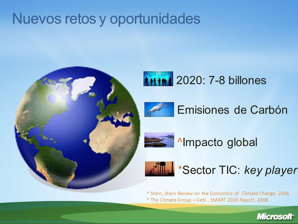 Nuevos retos y oportunidades *Sector TIC: key player Emisiones de Carbón ^Impacto global 2020: 7-8 billones ^ Stern, Stern Review on the Economics of
