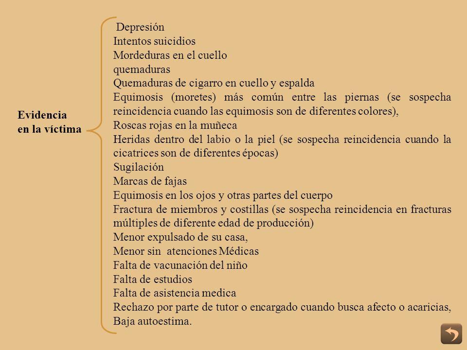 Evidencia en la víctima Depresión Intentos suicidios Mordeduras en el cuello quemaduras Quemaduras de cigarro en cuello y espalda Equimosis (moretes)