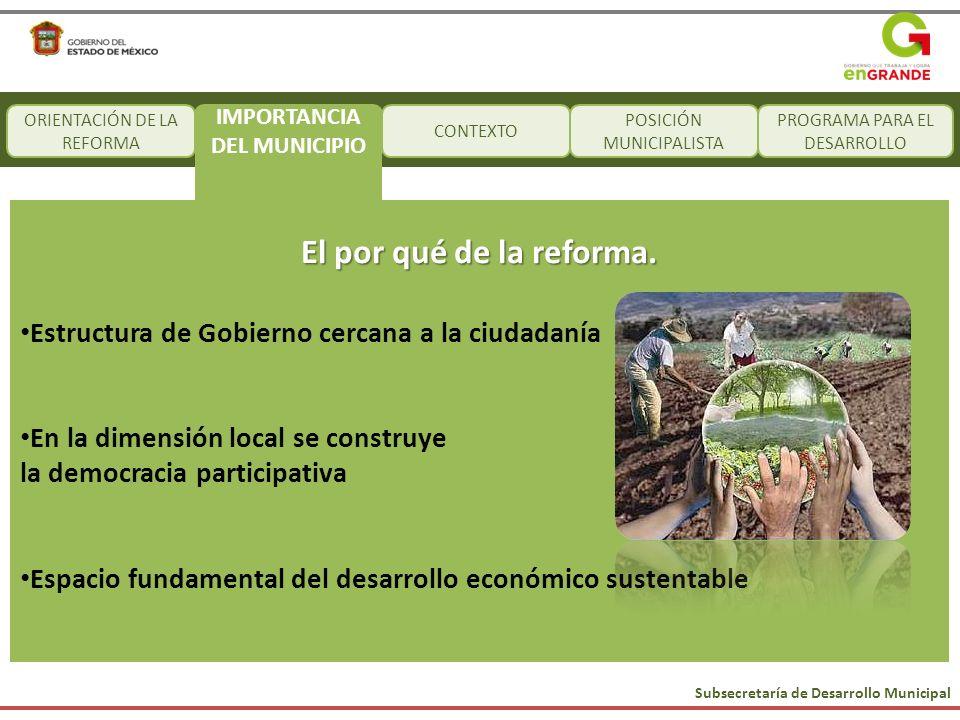 Subsecretaría de Desarrollo Municipal CONTEXTO POSICIÓN MUNICIPALISTA PROGRAMA PARA EL DESARROLLO El por qué de la reforma. Estructura de Gobierno cer