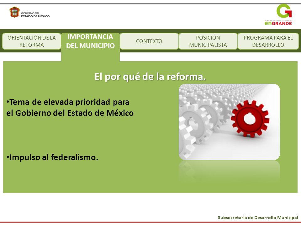 Subsecretaría de Desarrollo Municipal CONTEXTO POSICIÓN MUNICIPALISTA PROGRAMA PARA EL DESARROLLO El por qué de la reforma. Tema de elevada prioridad