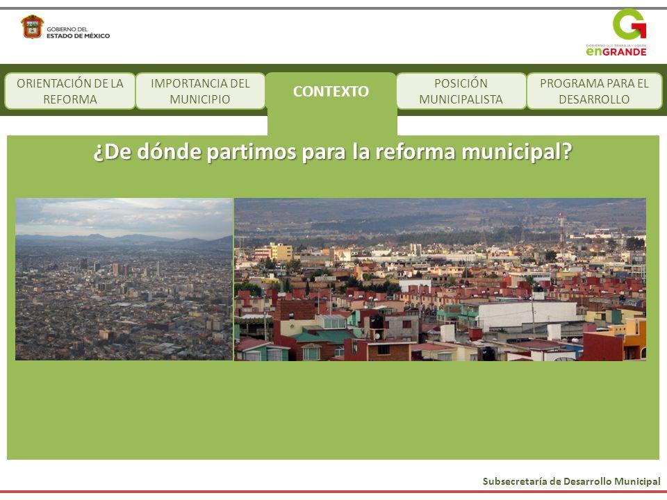 Subsecretaría de Desarrollo Municipal CONTEXTO POSICIÓN MUNICIPALISTA PROGRAMA PARA EL DESARROLLO ¿De dónde partimos para la reforma municipal? ORIENT