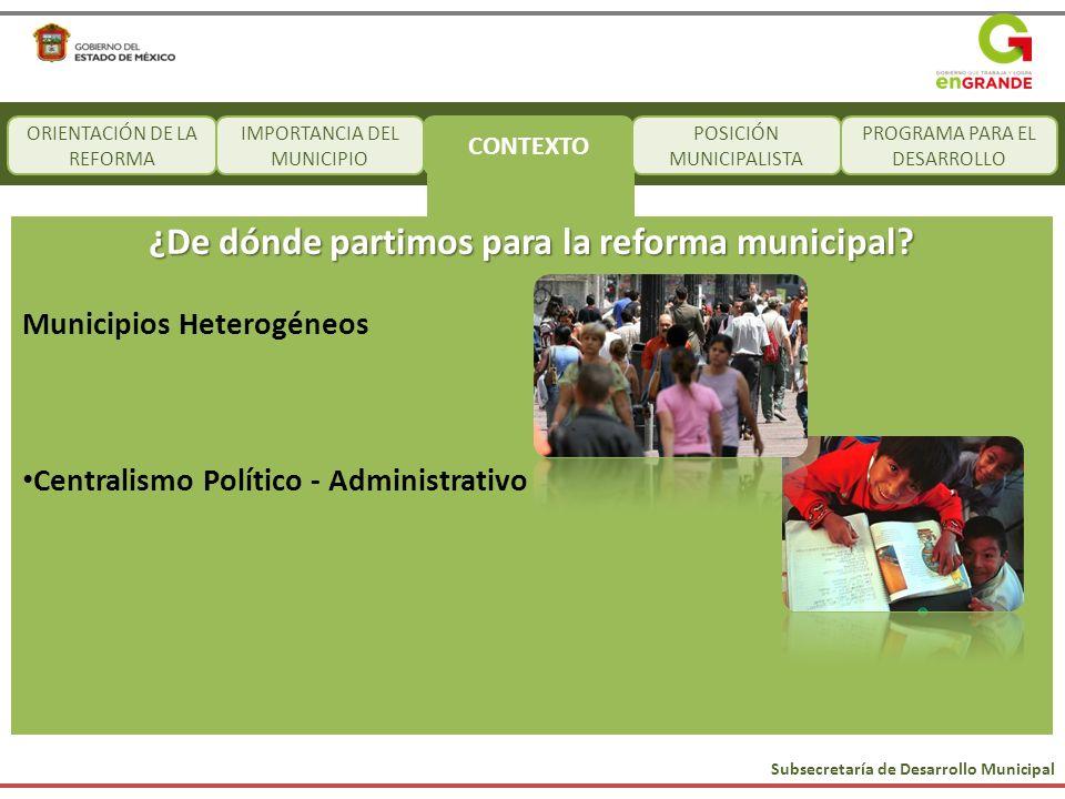 Subsecretaría de Desarrollo Municipal CONTEXTO POSICIÓN MUNICIPALISTA PROGRAMA PARA EL DESARROLLO ¿De dónde partimos para la reforma municipal? Munici