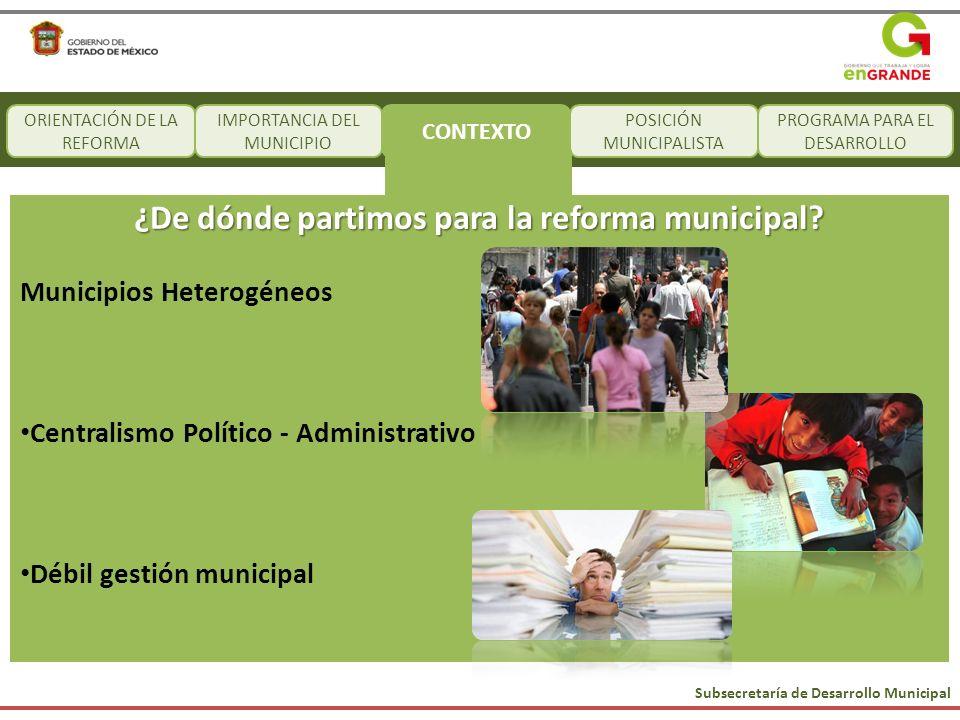 Subsecretaría de Desarrollo Municipal CONTEXTO POSICIÓN MUNICIPALISTA PROGRAMA PARA EL DESARROLLO ORIENTACIÓN DE LA REFORMA IMPORTANCIA DEL MUNICIPIO