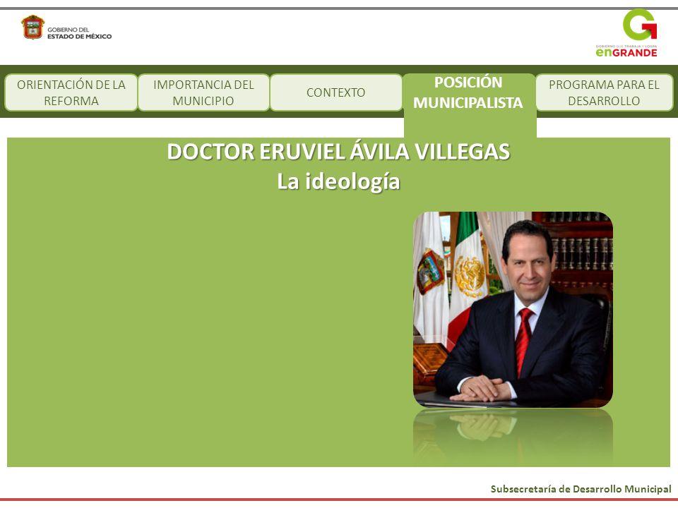 Subsecretaría de Desarrollo Municipal CONTEXTO PROGRAMA PARA EL DESARROLLO DOCTOR ERUVIEL ÁVILA VILLEGAS La ideología ORIENTACIÓN DE LA REFORMA IMPORT