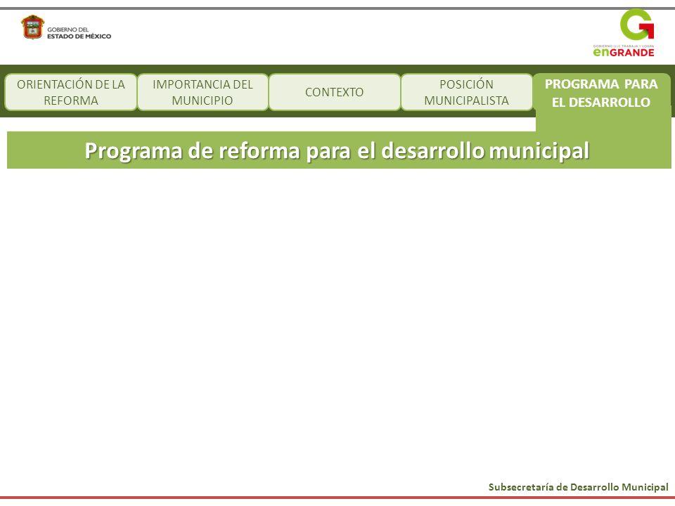 Subsecretaría de Desarrollo Municipal CONTEXTO Programa de reforma para el desarrollo municipal ORIENTACIÓN DE LA REFORMA IMPORTANCIA DEL MUNICIPIO PO