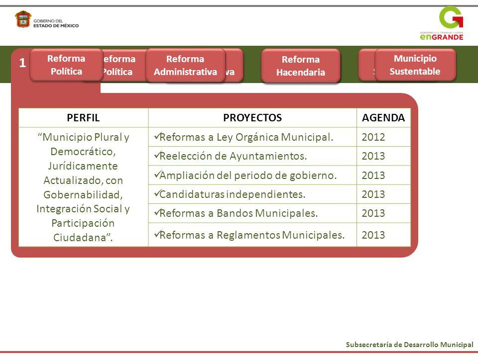 1 Subsecretaría de Desarrollo Municipal Municipio Sustentable Reforma Política Reforma Hacendaria Reforma Administrativa PERFILPROYECTOSAGENDA Municip