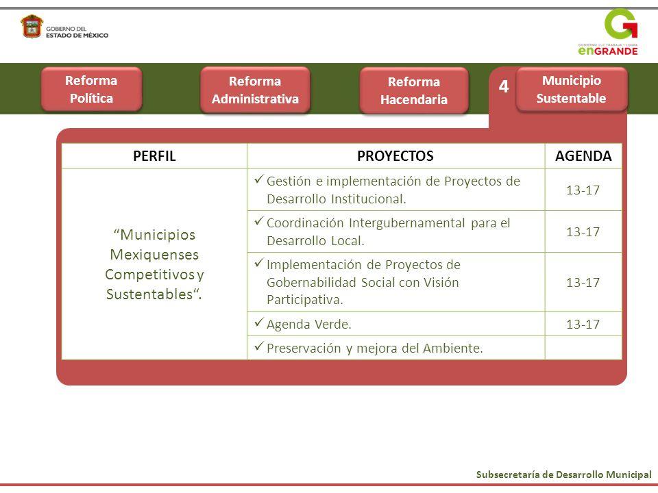 Subsecretaría de Desarrollo Municipal 4 PERFILPROYECTOSAGENDA Municipios Mexiquenses Competitivos y Sustentables. Gestión e implementación de Proyecto