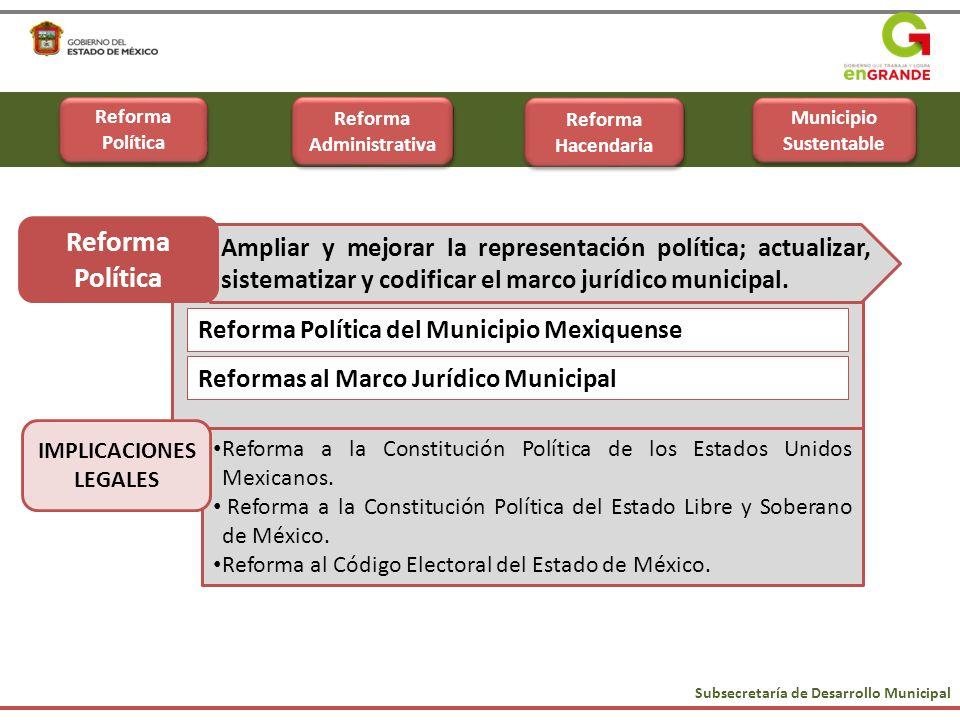 Reformas al Marco Jurídico Municipal Reforma Política del Municipio Mexiquense Subsecretaría de Desarrollo Municipal Reforma Política Ampliar y mejora