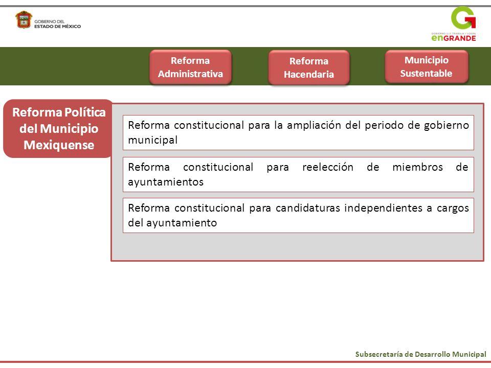 Subsecretaría de Desarrollo Municipal Reforma Política Reforma Política del Municipio Mexiquense Reforma constitucional para reelección de miembros de