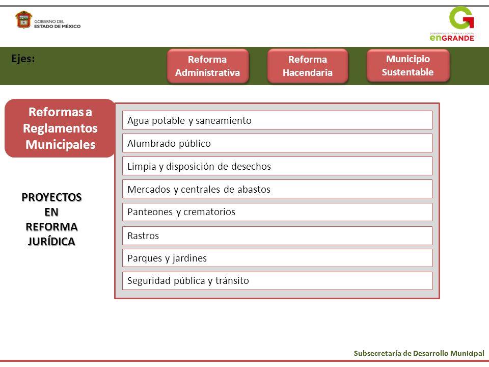 Subsecretaría de Desarrollo Municipal Ejes: Reforma Administrativa Reforma Hacendaria Municipio Sustentable PROYECTOSENREFORMAJURÍDICA Reformas a Regl