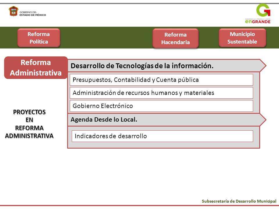 Subsecretaría de Desarrollo Municipal Reforma Administrativa PROYECTOSENREFORMAADMINISTRATIVA Administración de recursos humanos y materiales Presupue